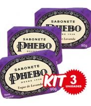 (Kit 3 Unidades) Sabonete Phebo Toque de Lavanda 90g
